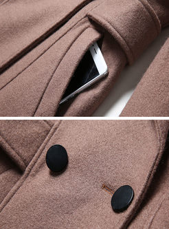 Camel Cashmere Wool Blended Peacoat