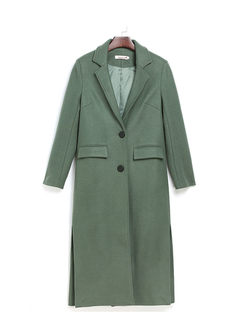 Yellow Lapel Straight Long Slit Overcoat