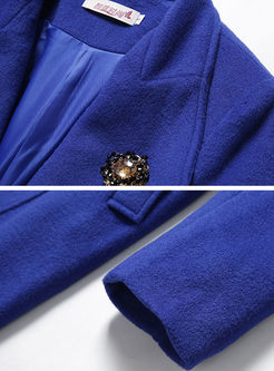 Royal Blue Lapel Slim Single-breasted Peacoat