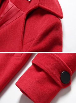 Notched Collar Double-breasted Bowknot Peacoat