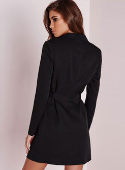 Deep V-neck Belted Blazer With One Button