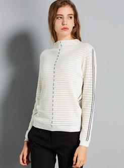 Mock Neck Color-blocked Striped Slim Sweater