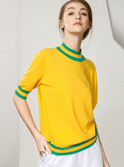 Color-blocked Mock Neck Loose Pullover Sweater