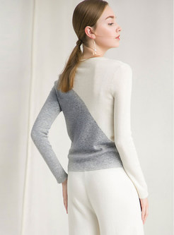 Long Sleeve Pullover Color-blocked Sweater