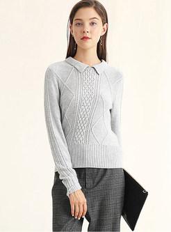Turn Down Collar Long Sleeve Slim Sweater