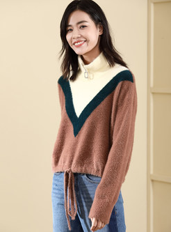 Loose Long Sleeve Color-blocked Tied Sweater