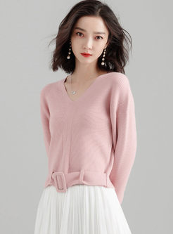 V-neck Belted Knitted Cropped Sweater
