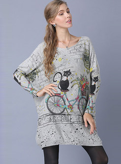 Slash Neck Cat Print Tunic Sweater
