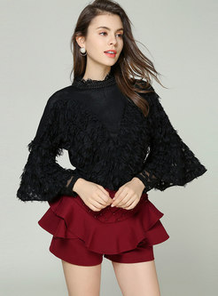 Flare Sleeve Beaded Openwork Slim Sweater