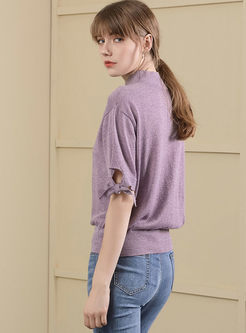 Purple Casual High Neck Short Sleeve Bowknot Knitted Top
