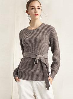 Crew Neck Tie-waist Slim Knitted Sweater