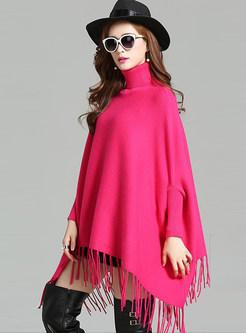 Bat Sleeve Cloak Tassel Loose Sweater