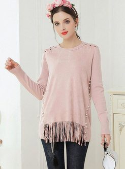 Pure Color Splicing Tassel Patch Beaded Sweater