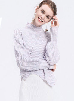 Purple Turtle Neck Lantern Sleeve Pullover Sweater