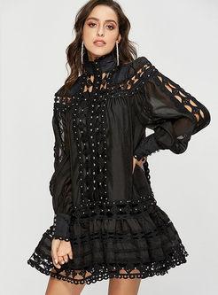Lace Hollow Out Pure Color Lapel Shift Dress