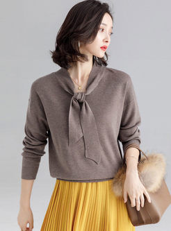 Solid Color V-neck Bowknot Sweater