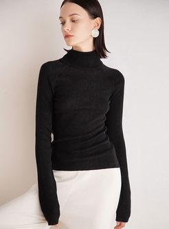Gray High Collar Slim Pullover Sweater