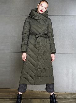 Hooded Side Zipper Long Puffer Coat