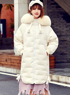 Solid Color Embroidered Hooded Loose Down Coat