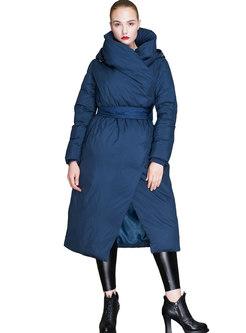 Solid Color Turtleneck Waist Asymmetry Down Coat