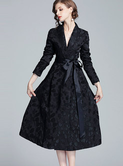 Notched Jacquard Tie A Line Coat