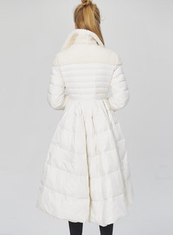 Patchwork A Line Big Hem Puffer Coat