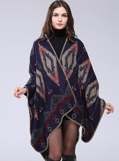 Color-blocked Jacquard Thick Cloak Scarf