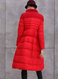Turtleneck Patchwork A Line Puffer Coat