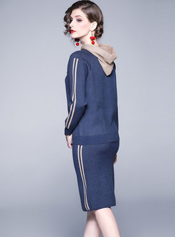 Color-blocked Hooded Slim Knit Suit Dress