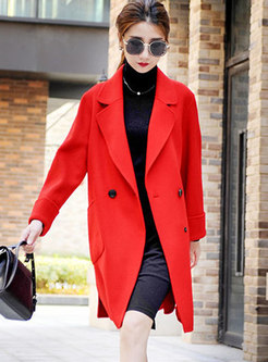 Solid Color Notched Loose Wool Peacoat