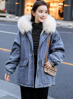 Hooded Loose Cotton Thick Denim Coat