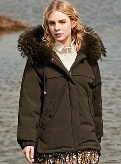 Straight Loose Hooded Short Parka Coat