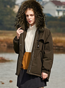 Straight Loose Hooded Short Parka Coat