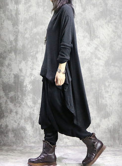 Asymmetric Pullover Sweater Loose Harem Pant Suits