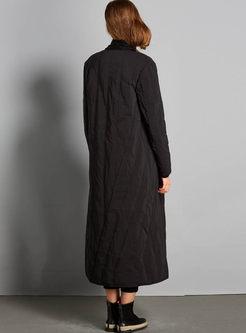 Red Elegant Long Sleeve Zipper Long Down Coat