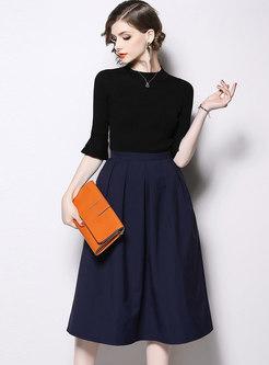 Flare Sleeve High Waisted Skirt Suits