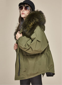 Hooded Bat Sleeve Drawstring Orolay Coat