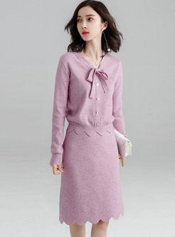 Bowknot V-neck Slim Sweater Suit Dress