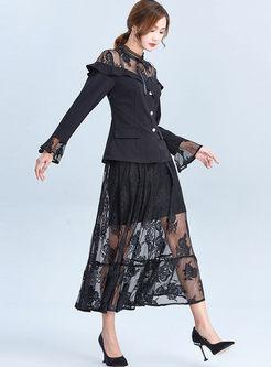 Lace Falbala Patchwork A Line Suit Dress
