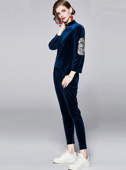 Mandarin Embroidered Harem Pant Suits