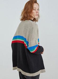 Color-blocked Asymmetric Wool Cardigan
