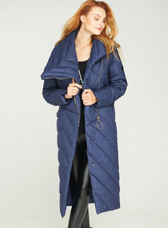 Lapel Side Zipper Asymmetric Puffer Coat