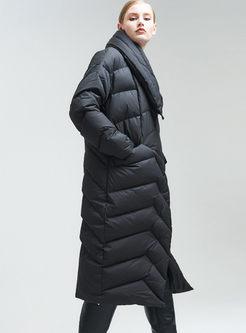 Lapel Side Zipper Asymmetric Puffer Coat