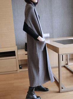 Solid Color Long Sweater Coat With Pockets