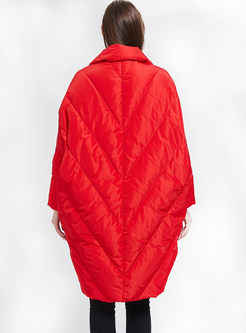 Red Notched Plus Size Cocoon Down Coat