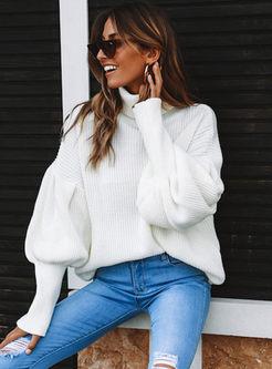 Turtleneck Lantern Sleeve Pullover Sweater