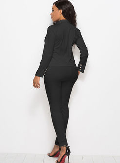 Solid Color Notched Office Pant Suits