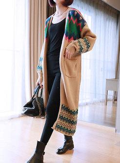 Bat Sleeve Color-blocked Sweater Coat