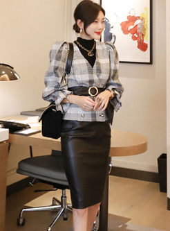 V-neck Plaid PU Bodycon Skirt Suits
