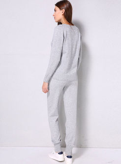 Pullover Long Sleeve Sweater Pant Suits